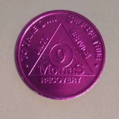 aa bronze alcoholics anonymous 9 months recovery sobriety  coin token medallion