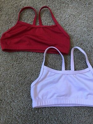 Motionwear Dance Tops, Size 8/10 Youth.  (2) Pink And Red