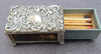 Sterling Silver Victorian Silver Match Box Holder 1899
