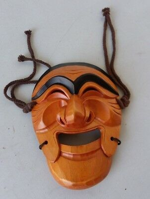 "Wooden Hand Carved Chinese Asian Mask Two-Tone Wood Wall Hanging 10"" High"