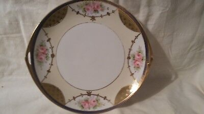 VINTAGE NIPPON CHINA Floral Cake Serving Plate Gold Handles Hand ...