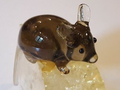 RARE Mid century modern Lucite Cheese Wedge Lucite Mouse Paperweight acrylic