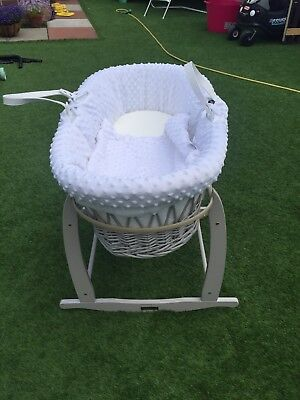 Clair De Lune Grey Wicker (Moses Basket, Stand and Mattress) - Dimple White