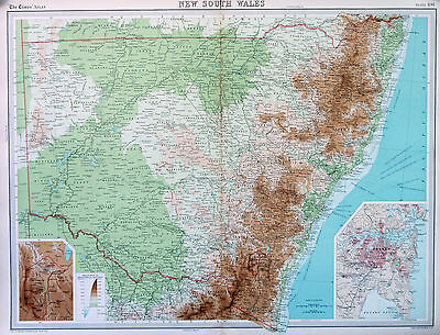 Map of Australia New South Wales Large 1922 Original Antique