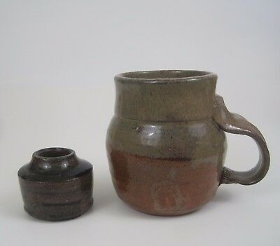 Vtg Studio Art Pottery Mug Cup Mini Pot Hand Thrown Stoneware Signed Lot of 2