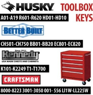 Kennedy Tool Box Replacement Keys, Keys Cut To Your Lock Code
