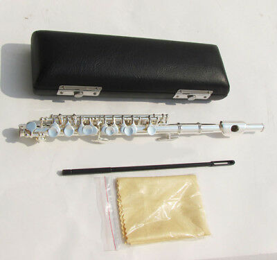 E14 C Key Silver Plated Professional Musical Instrument  Piccolo With Case Bag O