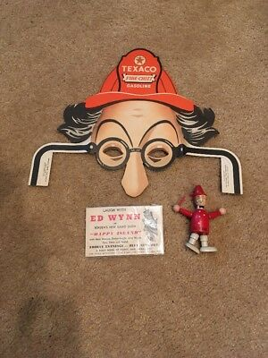 Vintage Ed Wynn Texaco Fireman Mask, Wood Doll & Bordens Ad