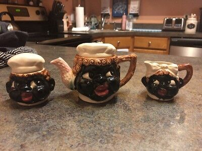 Vintage HTF Ceramic Black Americana Tea Set Teapot Sugar Bowl Creamer Mammy Chef