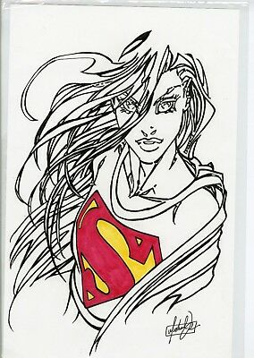 "Super Woman Pen & Ink Signed By The Artist 11"" X 17"" *** C.o.a. *** Included"