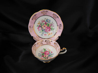 Vintage Regency Bone China Porcelain Beautiful Pink Floral Cup and Saucer Set