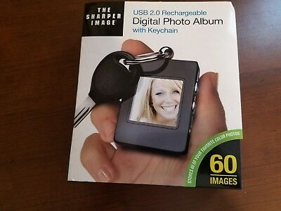 NEW The Sharper Image Rechargeable Digital Photo Album With Keychain