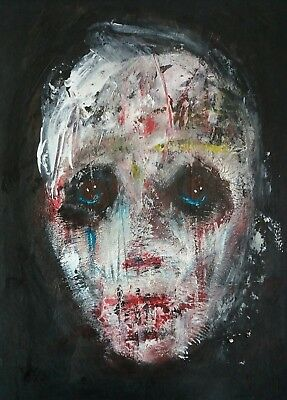 Dark figurative abstract portrait painting expressionist art brut