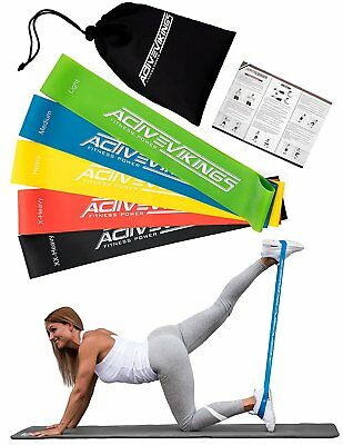 ActiveVikings Loops 5er Set Fitnessband Muskelaufbau Crossfit Gymnastik Yoga