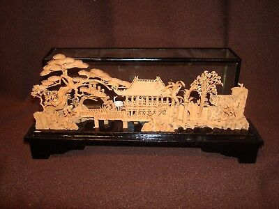 Bonsai Shadow Box Chinese Pagoda Diorama Carved Cork Art Sculpture San You Crane
