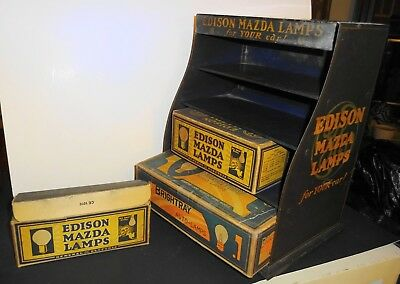 Early 1900s Edison Mazda Autolamp Counter Display w/ Original Bulbs