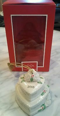 "NEW IN BOX,$60, Lenox 2016 Our First Christmas Together 3"" Cake Ornament"