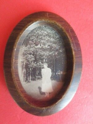 vintage miniature dollhouse wood framed b&w portrait young lady picture 1:12