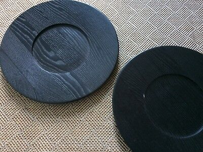 RARE - 2 x Vintage Saulo AS Black Ash Plates. Made in Norway (32cm)