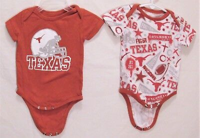 Longhorn Apparel, Set of 2 Texas Longhorn One-Piece Rompers, Baby 6 months