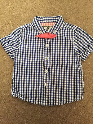 Next Baby Boy Blue And White Check Shirt 3-6 Months