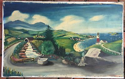 Antique Original Oil on Canvas Folk Art Town Seaport Lighthouse Landscape SIGNED