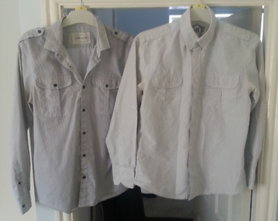 Mens unisex job lot of RIVER ISLAND vintage military style striped shirts sizes