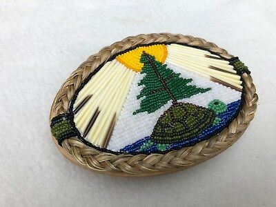 """X/l Beaded Porcupine Sweet Grass Leather Belt Buckle 4"""" By 3"""""""