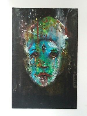 Original acrylic portrait painting contemporary symbolist outsider art