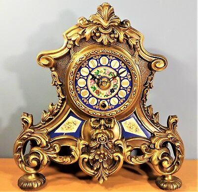 Vintage Italian Brass and Porcelain Clock. Movement by Franz Hermle West Germany