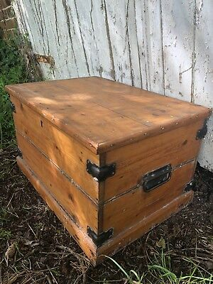 Small Vintage Antique Pine Storage Box Chest Trunk