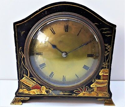 Antique French Chinoiserie Mantel Clock with Brass Feet, Working order