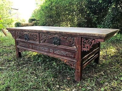 Vintage Oriental/Chinese wooden hand carved Coffee Table with 2 drawers
