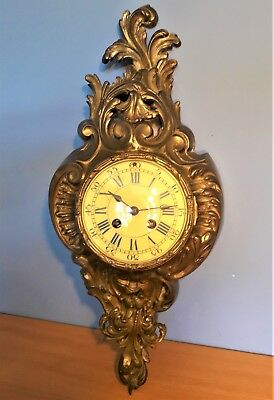Antique French Gilt Bronze/Brass Cartel Wall Clock by Samuel Marti Working order