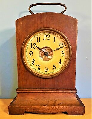 Antique Wood Cased Carriage / Mantel Alarm Clock