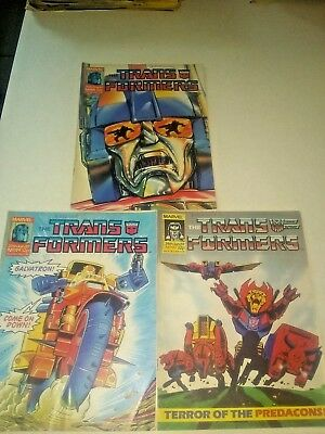 Marvel The Transformers British Weekly 3 Book Lot (1987) RARE