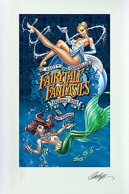 "Fairytale Fantasies SIGNED J SCOTT CAMPBELL Print 13""x19"" Limited Edition 82/100"