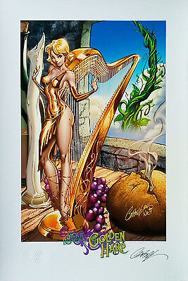 "Jack and the Beanstalk The Golden Harp SIGNED  J SCOTT CAMPBELL Print 13""x19"""