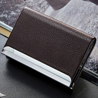 Steel Popular Id Holder Aluminum Leather PU Credit Mini Card Wallet Box Case