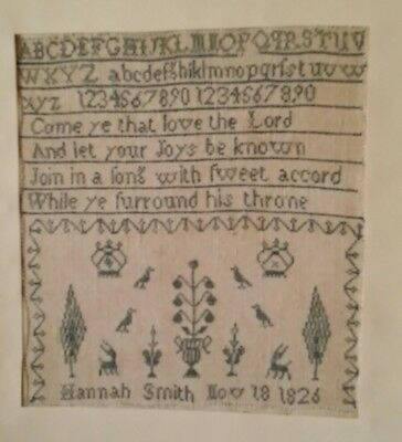 EARLY 19TH CENTURY BLUE STITCH WORK ALPHABET POEM SAMPLER BY Hannah Smith 1826