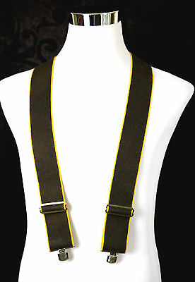 Hickok Hang-Ups Heavy Duty Brown Elastic Clip-On White Leather Y-Back Suspenders