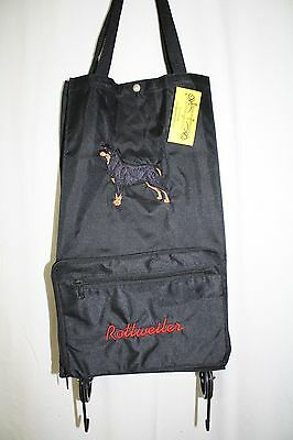 Rottweiler Dog Embroidered On a Black Wheeled Tote Bag