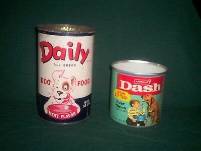 2 Vintage Dog Food Cans DAILY and ARMOUR DASH Sign