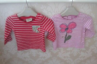 Next Girls Long Sleeved Tops X 2 Age 3-6 Months