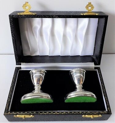 Pair of Sterling Silver Dwarf Candlesticks in a Fitted Case, Birmingham 1981