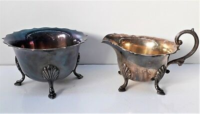 Antique Silver Plated Milk Jug & Sugar Bowl, Ducal Plate - Goldsmith's Company