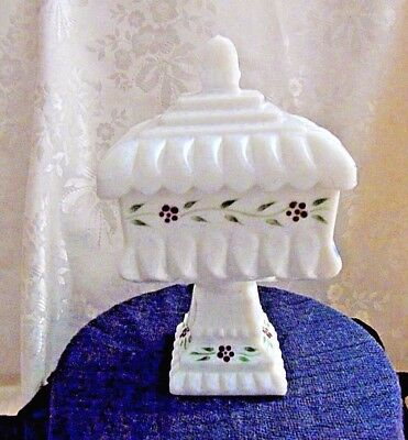 Vintage Westmoreland Milk Glass  Hand Painted Compote/Wedding Bowl HTF