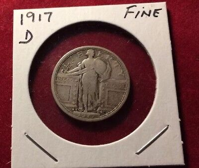 25C 1917-D Standing Liberty Silver Quarter Fine Type 1 Variety 1