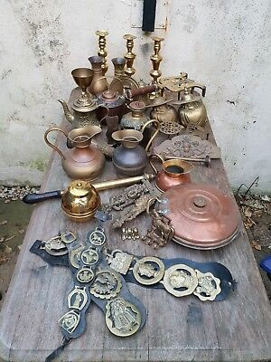 Large Job Lot Of Antique and Vintage Brass, Copper And Other Metals 15kg plus.