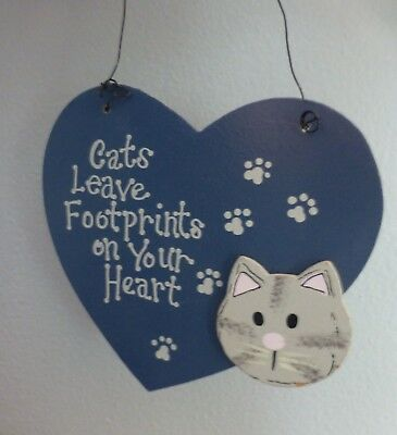 Wood Hanging Cat Sign Cats Leave Footprints On Your Heart Grey Cat